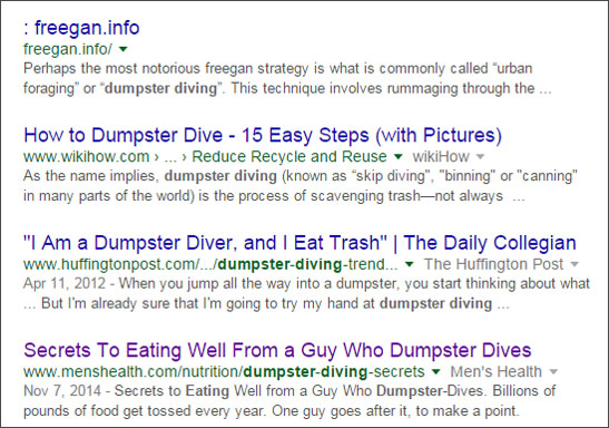 dumpster eating Google Search