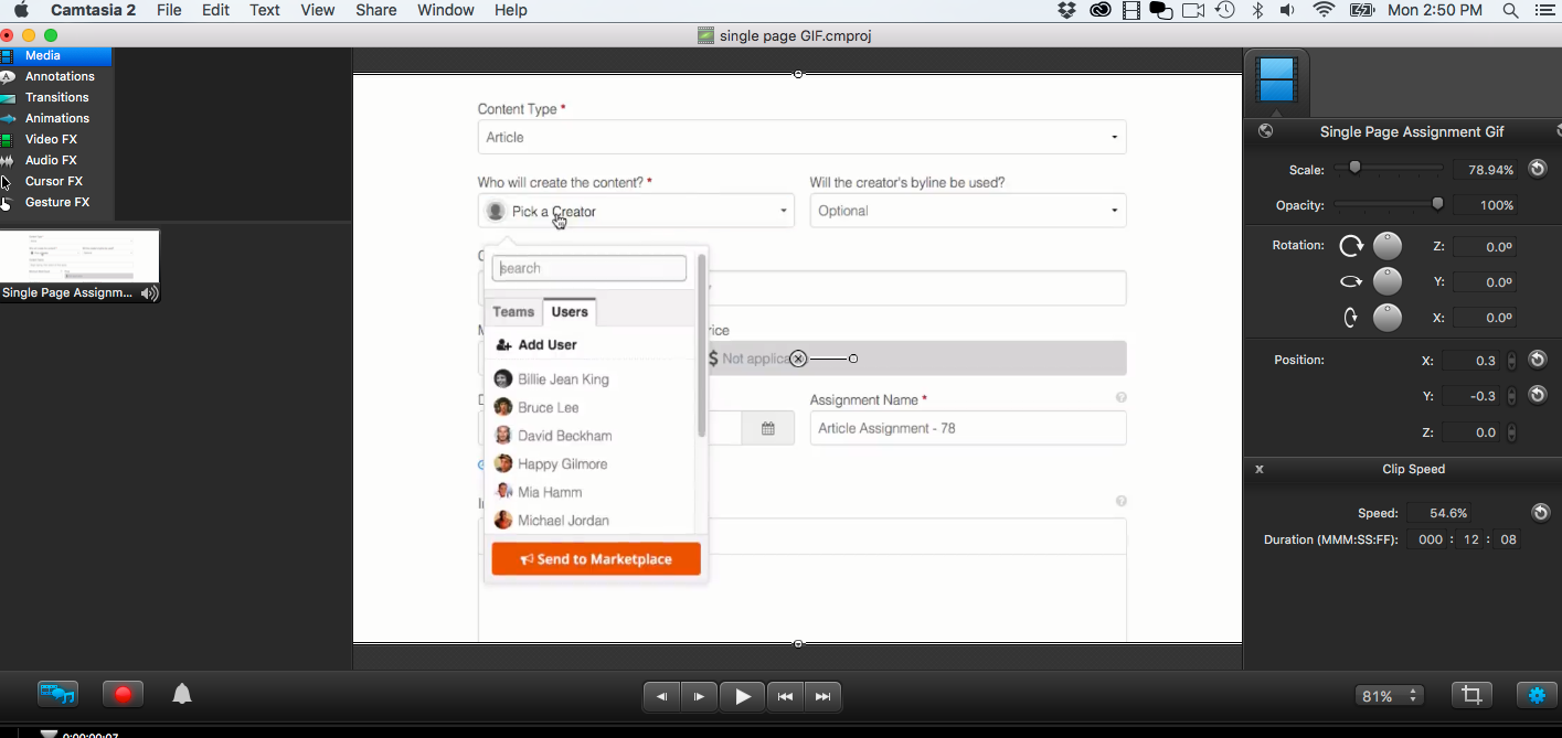 Using Camtasia to record your desktop for producing product demos or webinars