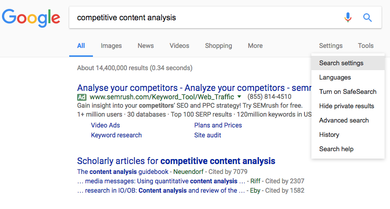 Using Google to start your competitive content analysis