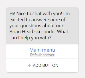 Building Your Facebook Chatbot - Step 4: Create your welcome message and default answer