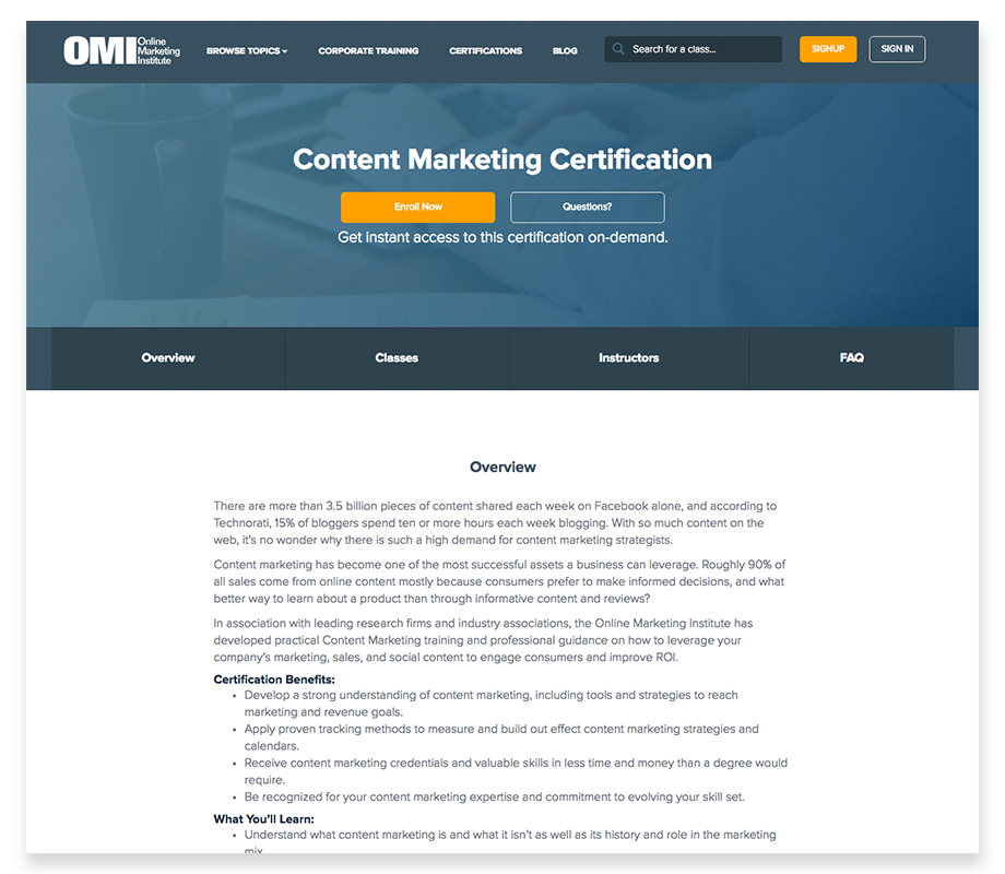 Content Marketing Certification Courses