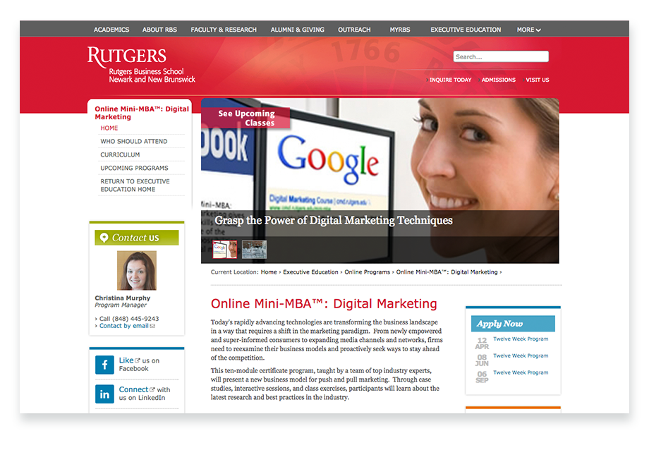 Rutger's courses in content marketing