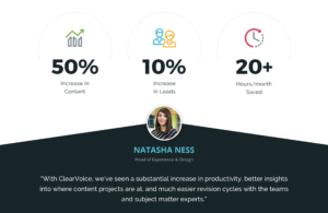 """With ClearVoice, we've seen a substantial increase in productivity,"" said Natasha Ness, Head of User Experience & Design, LeadME"