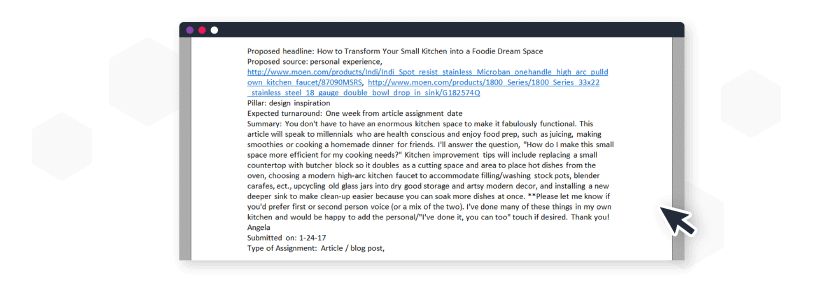 Example of article pitch sent to Moen