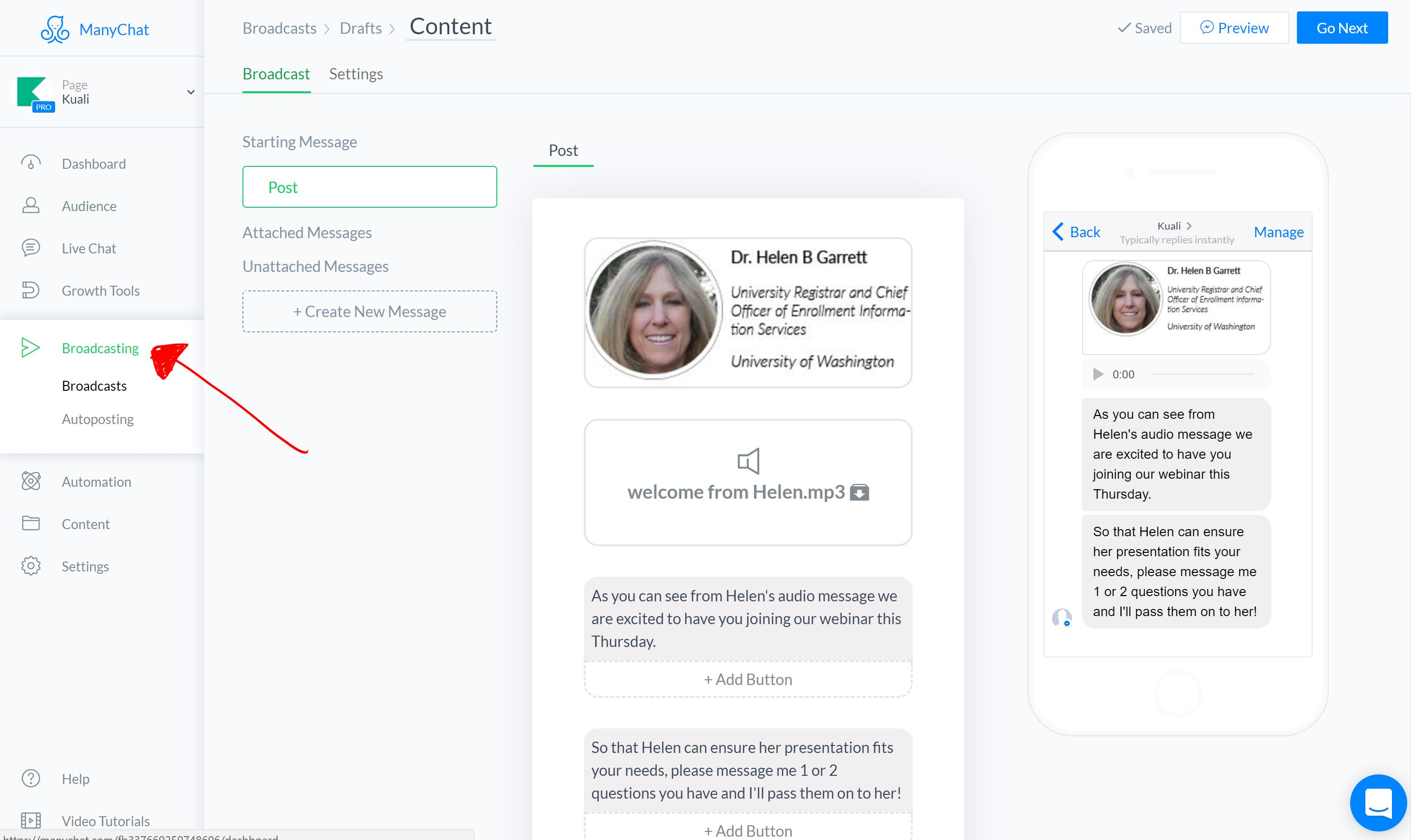 Setting up you webinar chatbot reminder in ManyChat