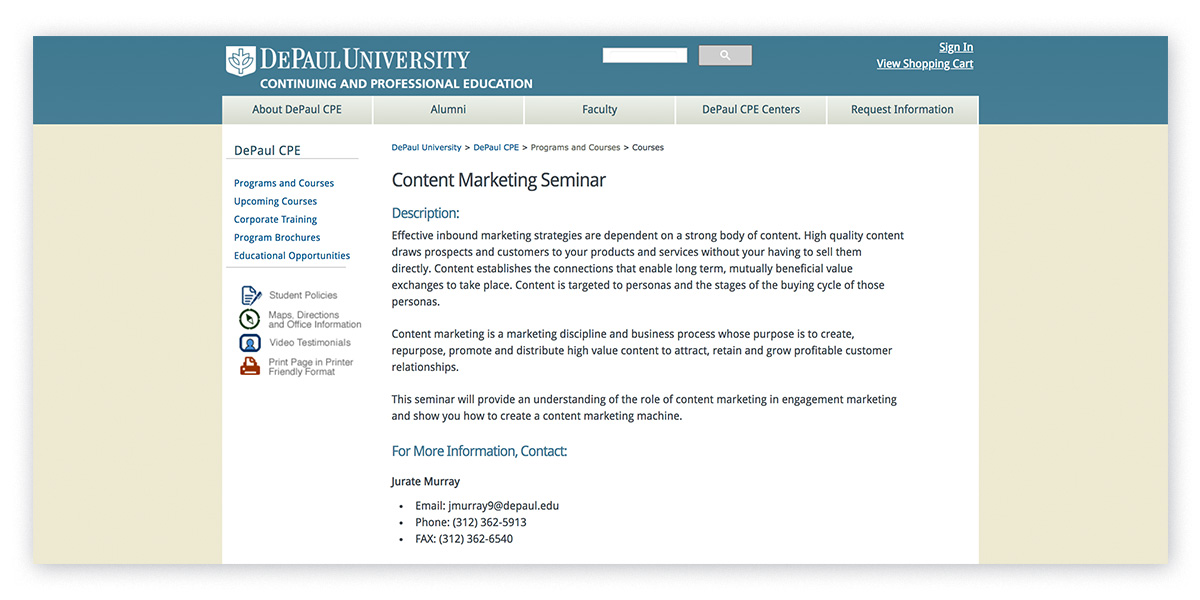 DePaul's content marketing seminars for professionals