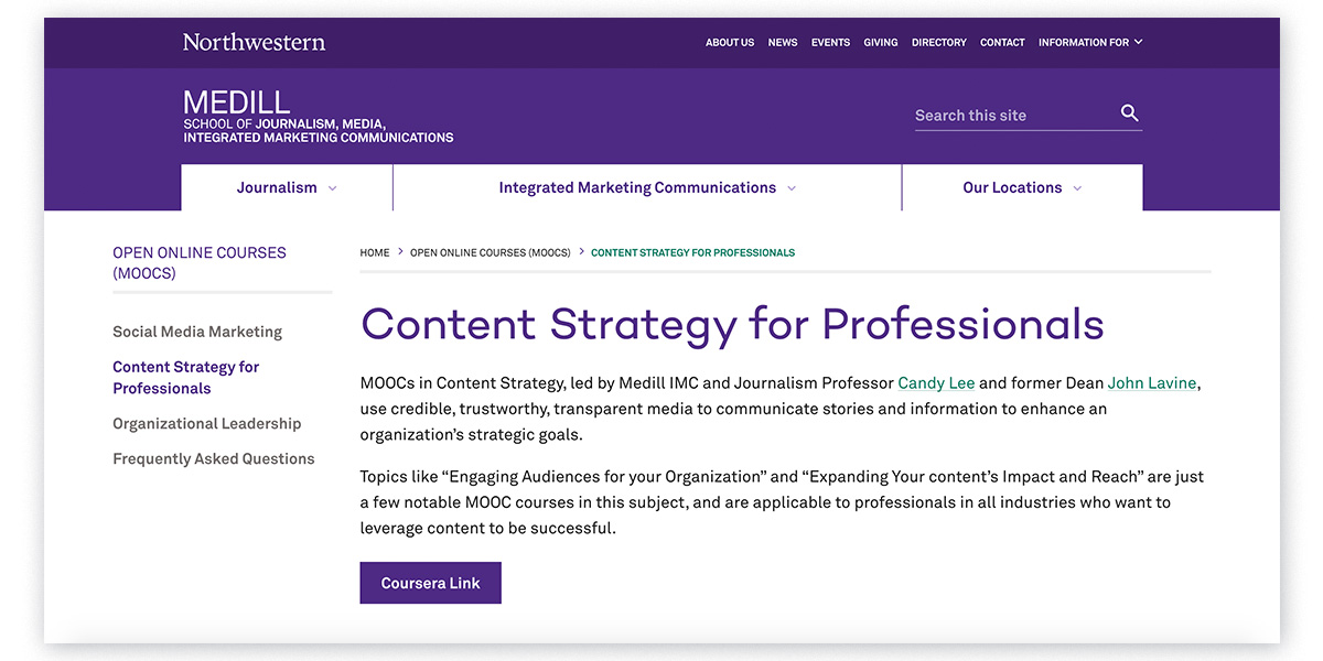 Northwestern University's content strategy courses for professionals