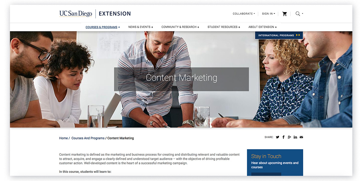 UC San Diego Extension - Content Marketing Courses