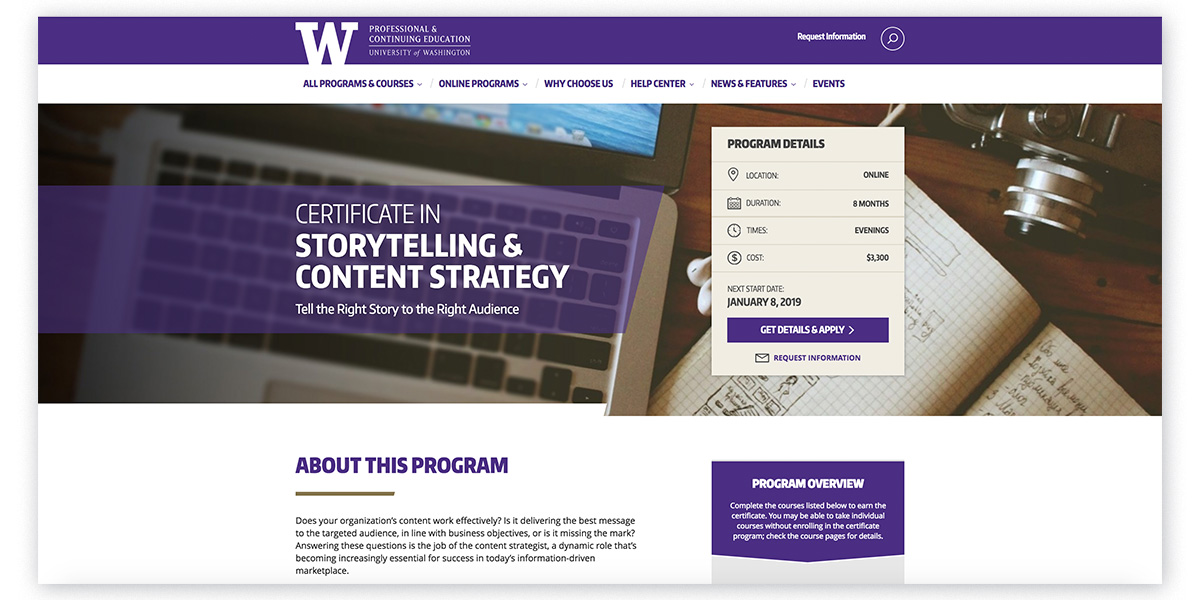 content marketing certifications in content strategy and storytelling