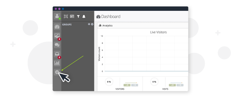 the dashboard for tawk.to, for setting up a free live chat
