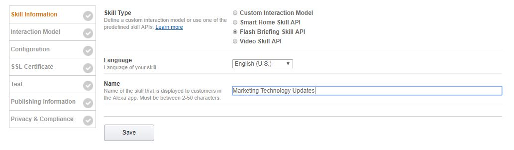 Select an Amazon Flash Briefing Skill API option