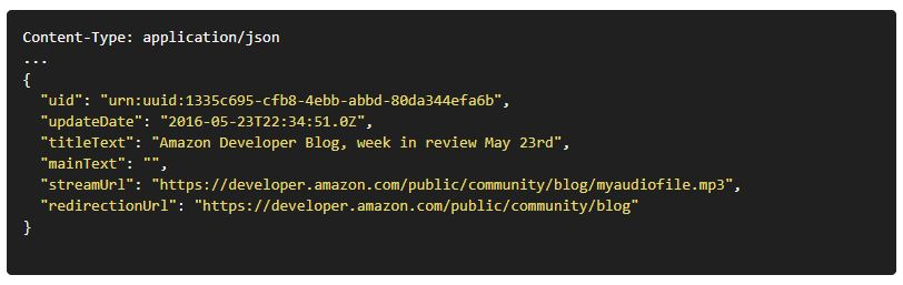 .JSON code example for pointing to your Alexa Flash Briefing Skill