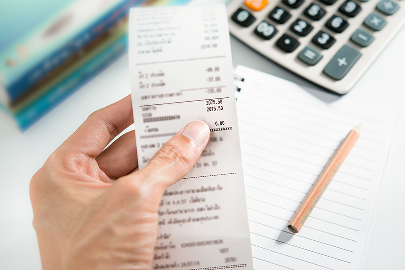 receipts for expense reports
