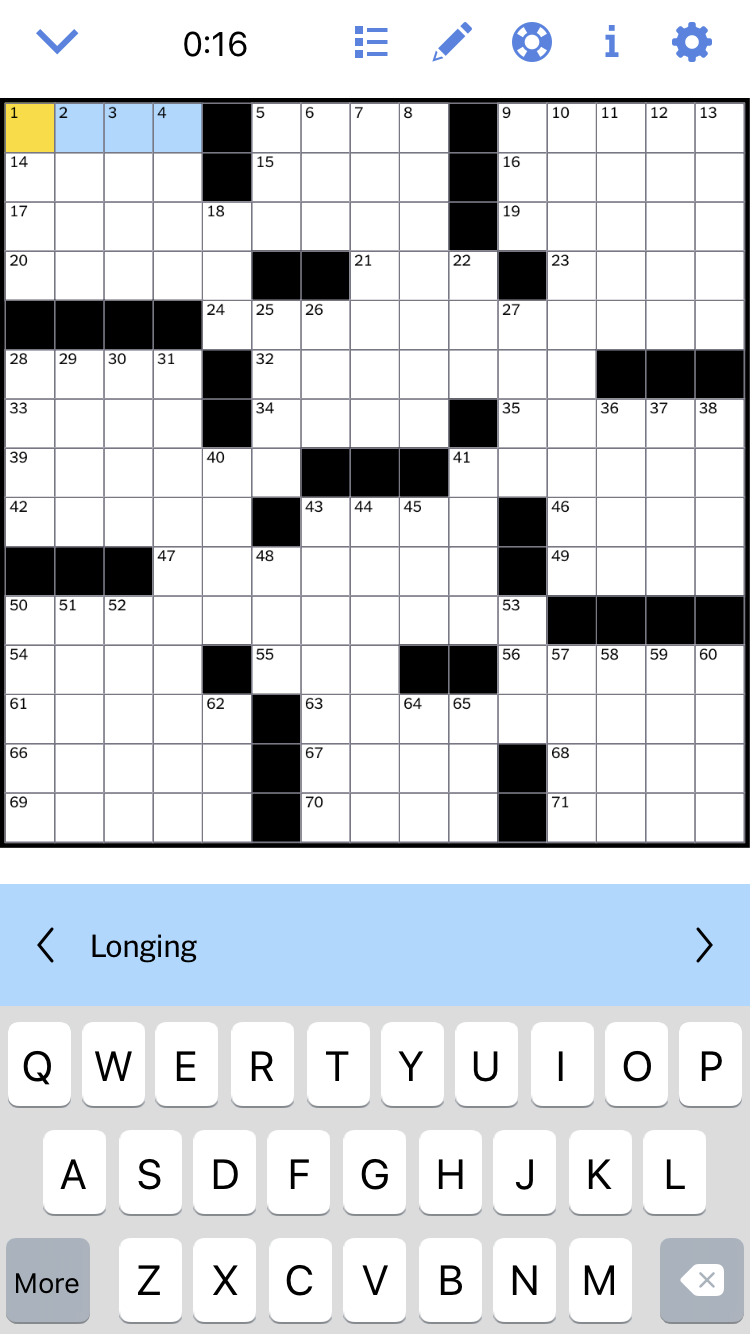 The New York Times Crossword Puzzle app for word nerds