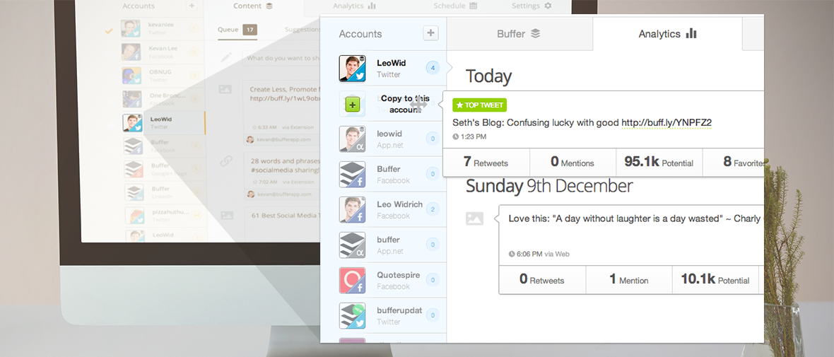 Buffer has a cleaner, easier-to-use UI than Hootsuite