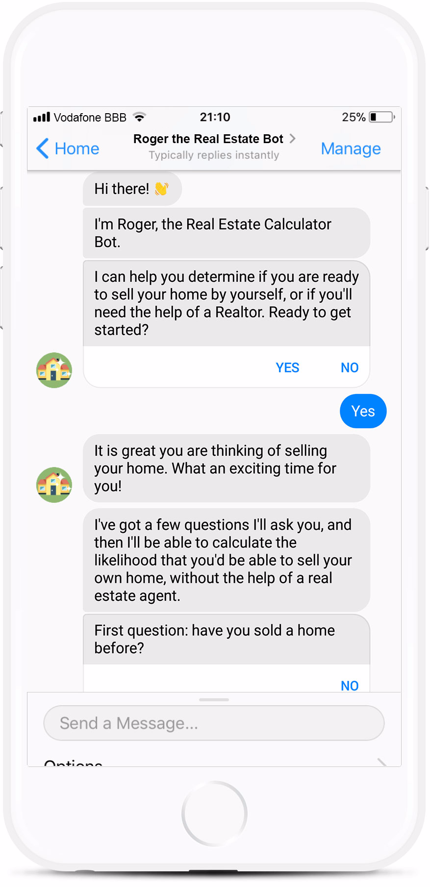 Example of real estate chatbot
