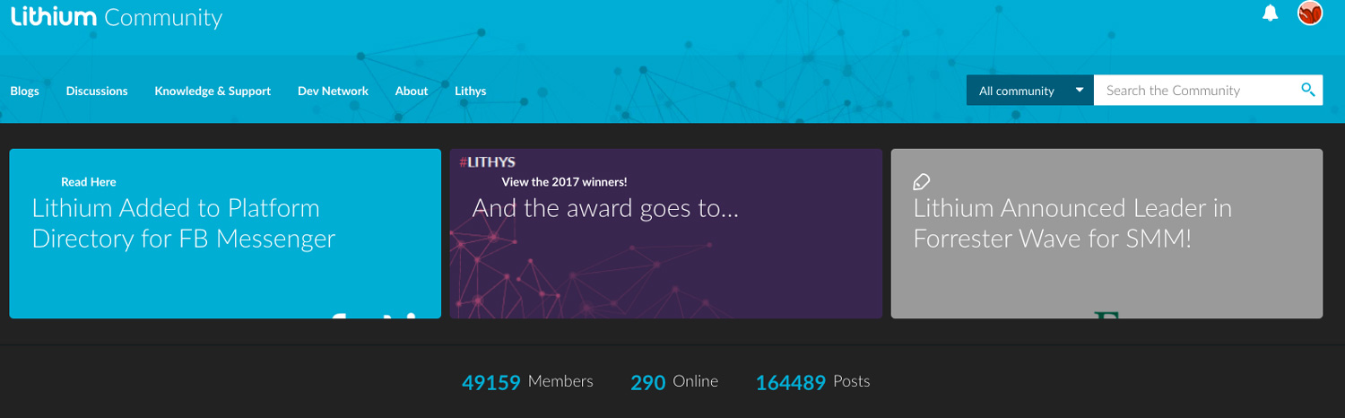 Lithium winning awards for best-in-class community app