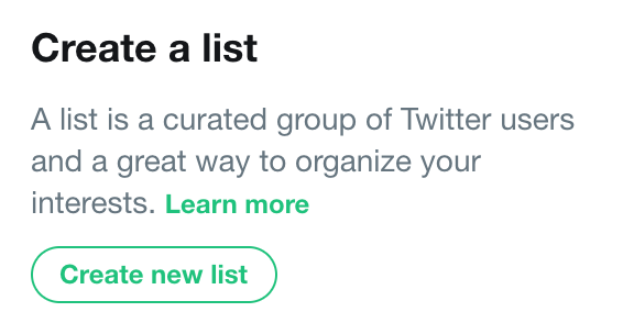 Create a list on Twitter