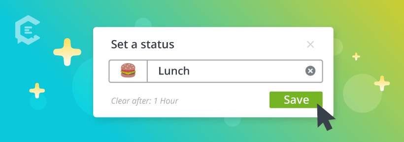 Working from home tips: set your status on Slack.