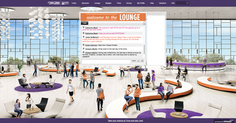 Intrado's virtual lounge for client, AnyTime Fitness