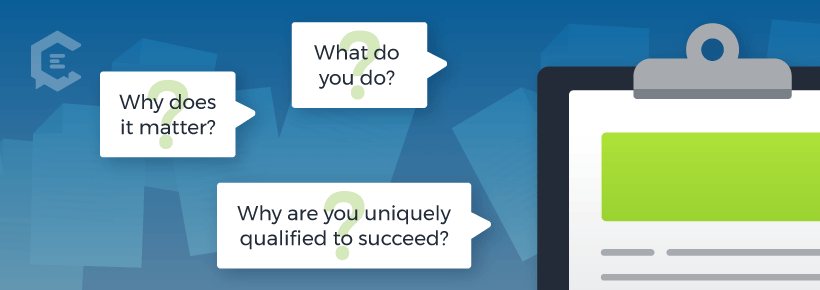 The 3 questions an executive summary must answer: 1) What do you? 2) Why does it matter? 3) Why are you uniquely qualified to succeed?