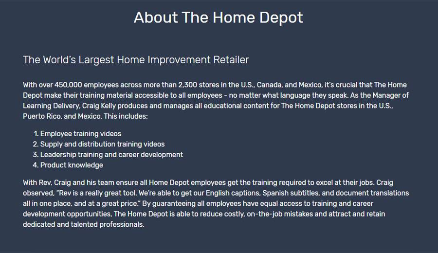 Customer story with Home Depot