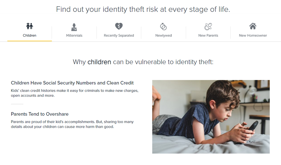 LifeLock: Landing page about identity theft