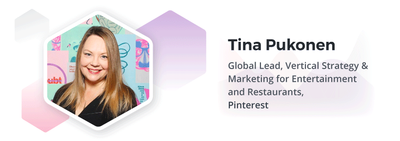 Head shot of Tina Pukonen, Pinterest's Global Lead, Vertical Strategy & Marketing for Entertainment and Restaurants