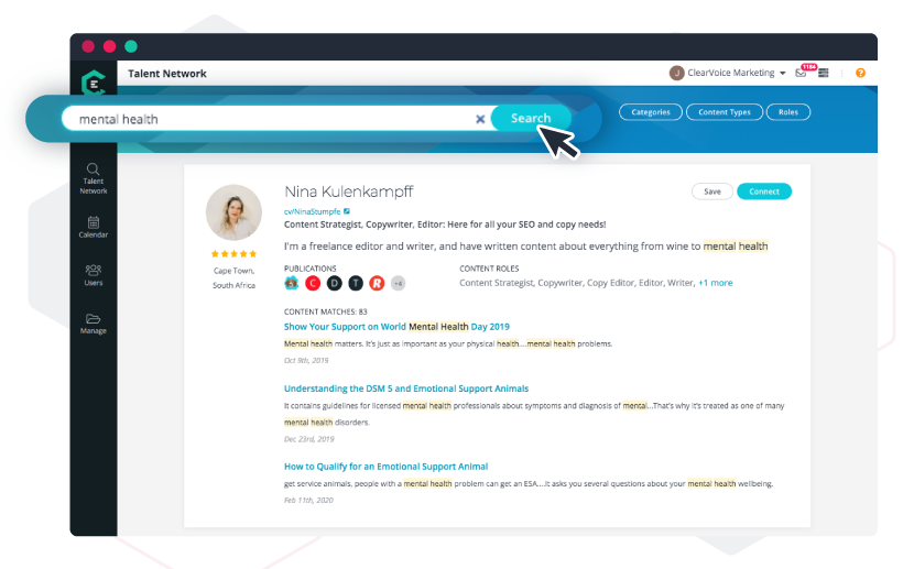 SEO ranking in new and enhanced Talent Search on ClearVoice