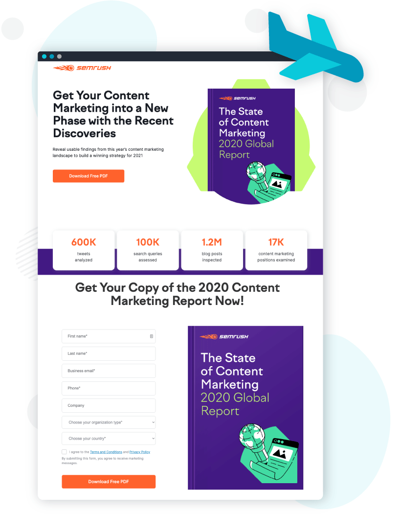 Landing page on the website with CTAs and a form (SEMRush)