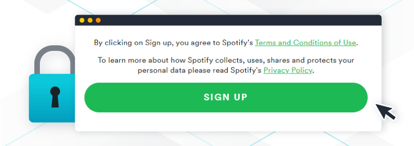 Privacy policy placement - Spotify