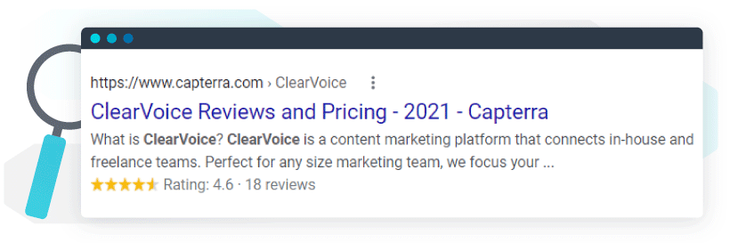 The stars, the rating, and the review count all output into Capterra's result for ClearVoice, making a highly clickable, rich result.