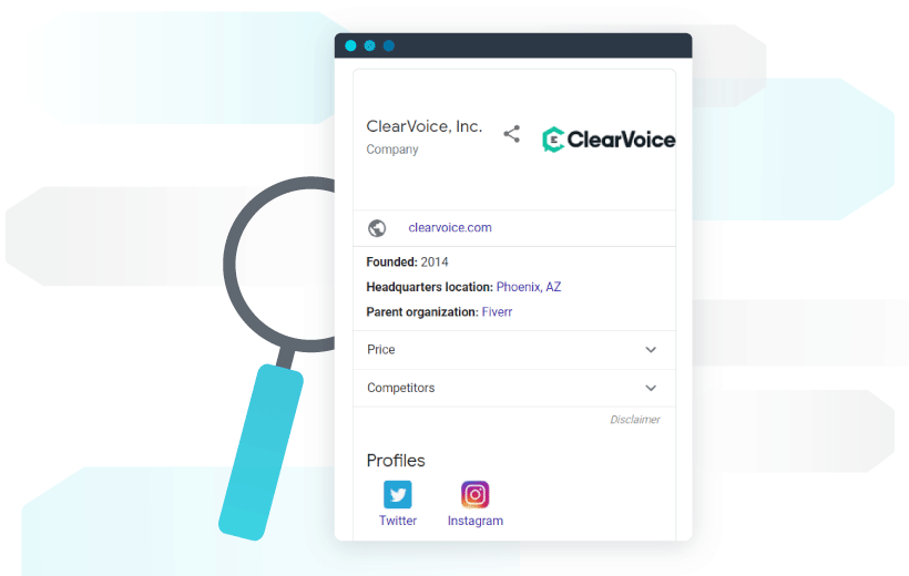 ClearVoice's knowledge panel example