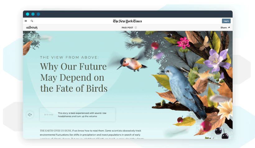 Native advertising example on The New York Times