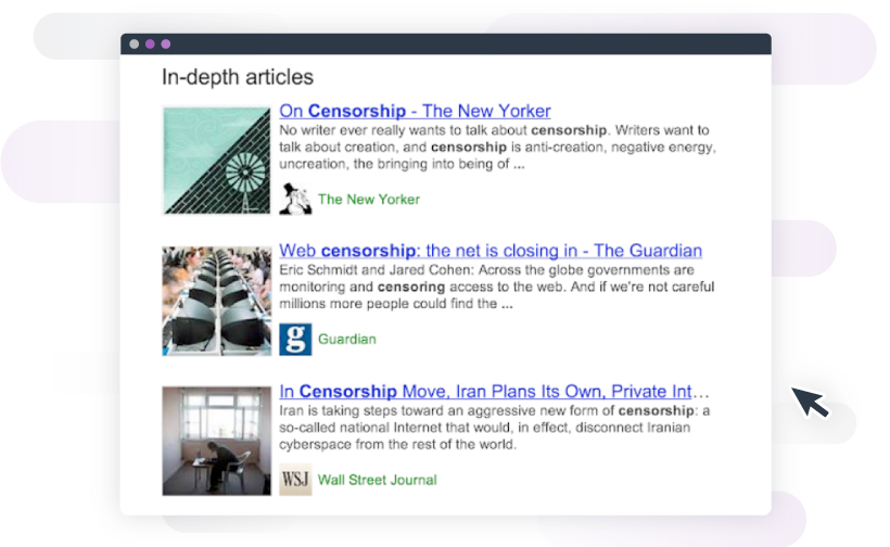 Examples of the progression of in-depth articles on Google's SERP