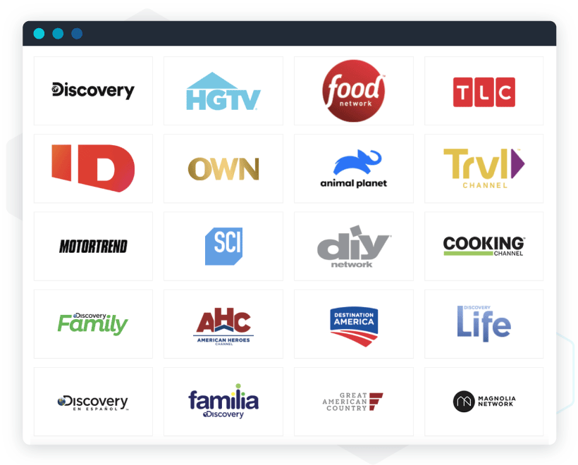 Examples of logo jungles: Family of U.S. networks owned by Discovery