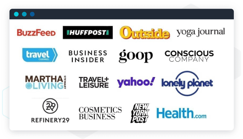 """Examples of logo jungles: """"As Featured In"""" logo jungle for media mentions"""