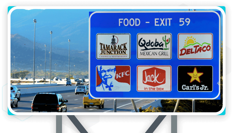 Food, gas, lodging or services on Interstate logo signs