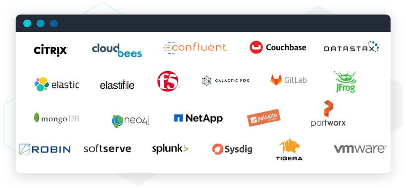 Examples of logo jungles: Software providers integrated with Google's Anthos