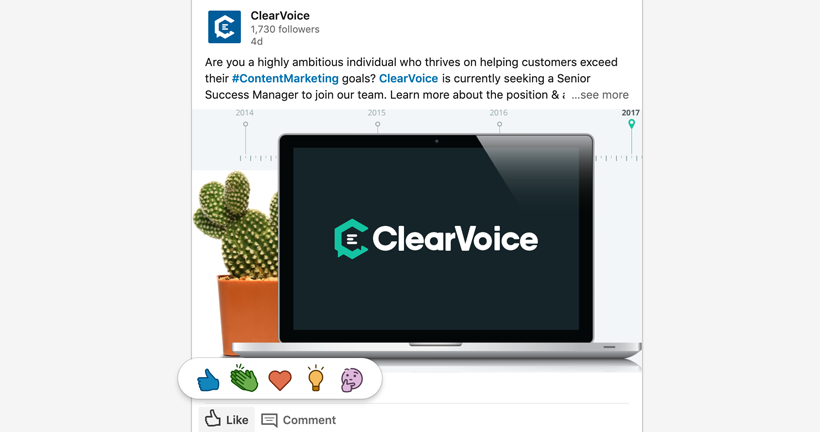 linked in reactions clearvoice example