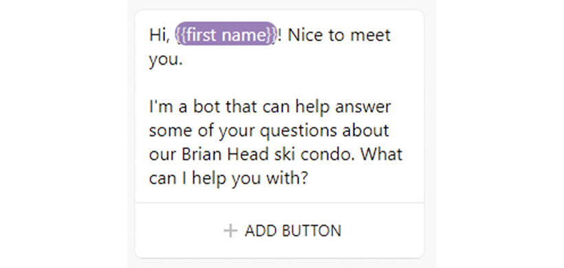 Step 4: Create the default welcome message for your chatbot